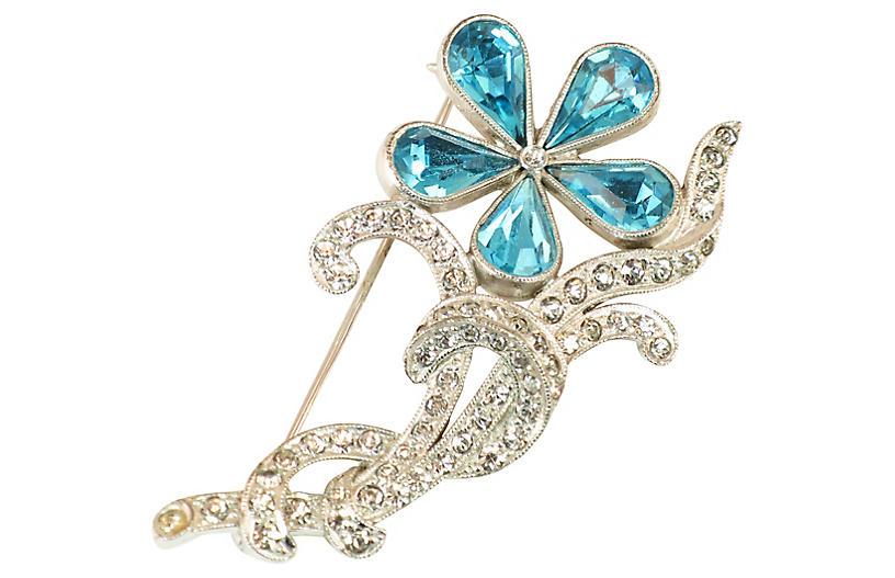 1940s Mazer Teal Crystal Floral Brooch