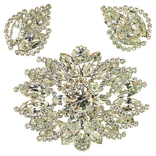 1950s Weiss Crystal Brooch Set, 3 Pcs