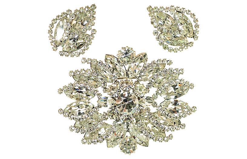 1950s Weiss Crystal Brooch & Earrings