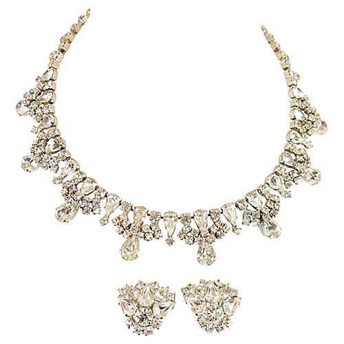 1950s Kramer Crystal Necklace Suite