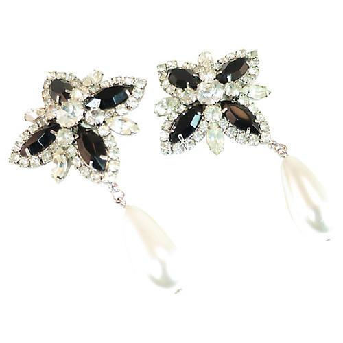 1960s Black Crystal & Pearl Earrings