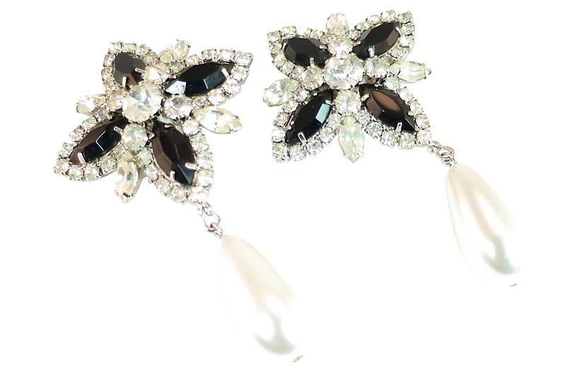 1960s Crystal & Pearl Cocktail Earrings