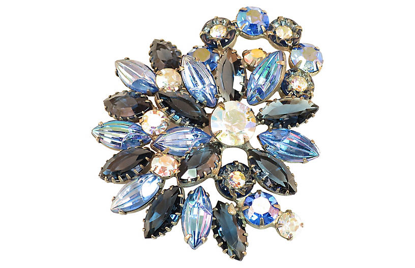 1960s Juliana Carved Blue Glass Brooch