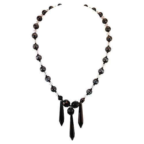 Jet & Cat's Eye Necklace and Earring Set