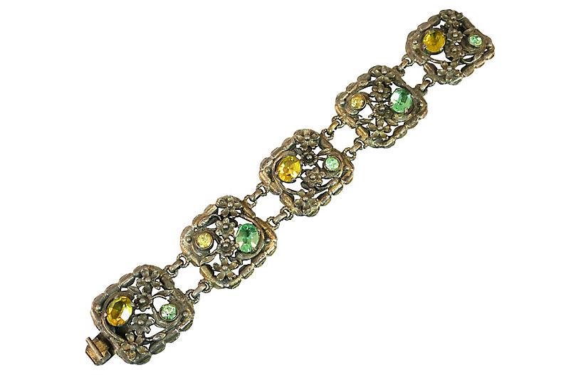 1930s Art Deco Pastel Floral Bracelet