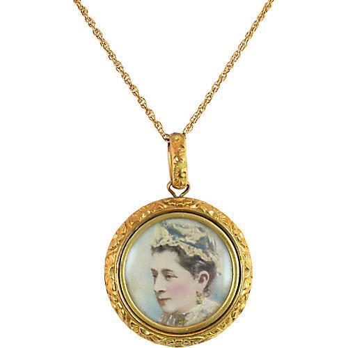 1880s Victorian Antique Portrait Pendant