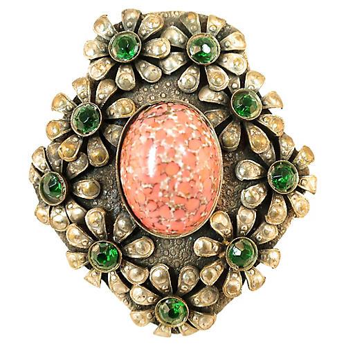 Edwardian Emerald Floral Clip Brooch