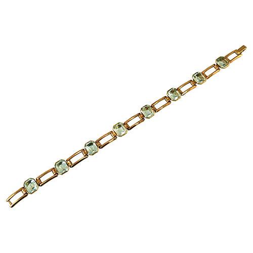 1940s Engel Bros. Aqua Crystal Bracelet