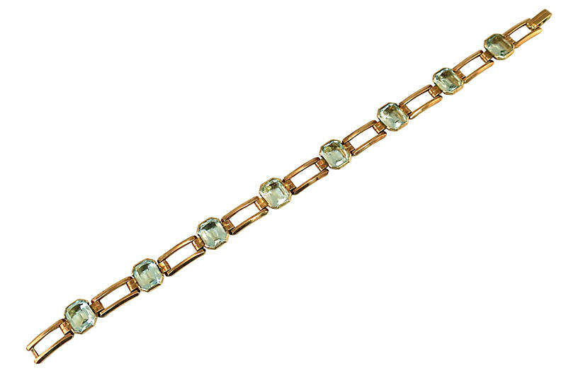 1930s Art Deco Aqua Crystal Bracelet