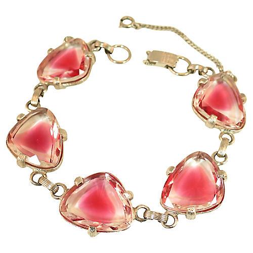 1950s Judy Lee Pink Cuba Glass Bracelet