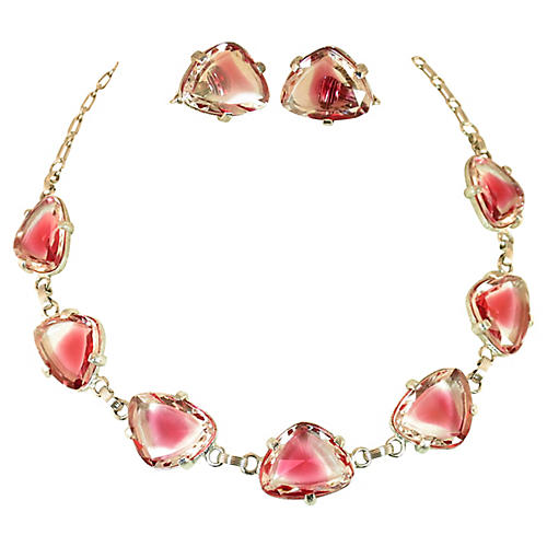 1950s Judy Lee Pink Cuba Glass Necklace