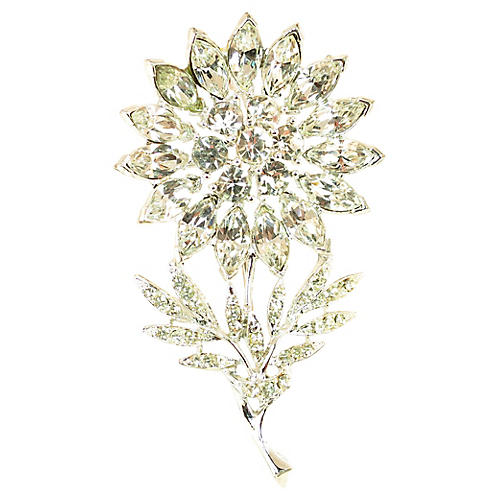1940s Crystal Flower Brooch
