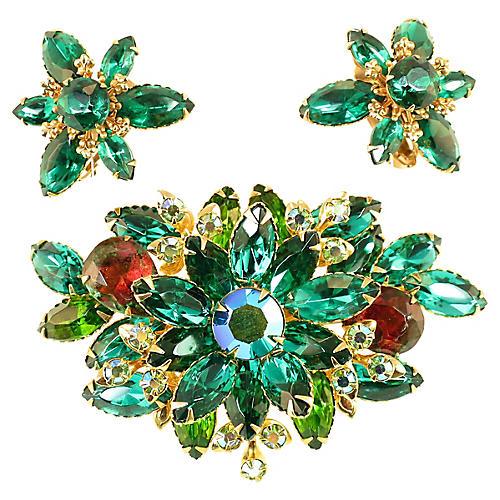 1950s Beau Jewels Emerald Brooch Suite