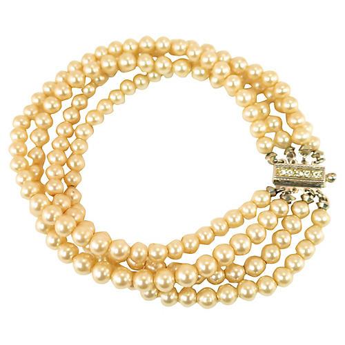 '30s Deco Faux-Pearl & Sterling Bracelet