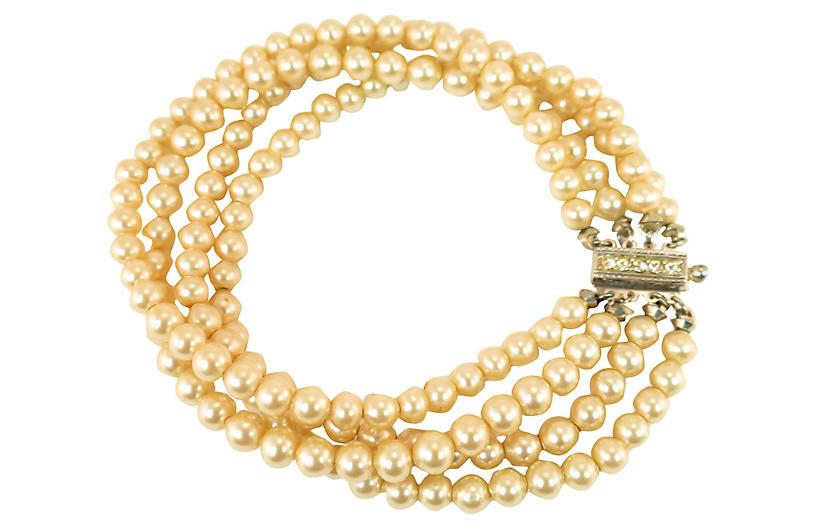 1930s Art Deco Pearl & Sterling Bracelet