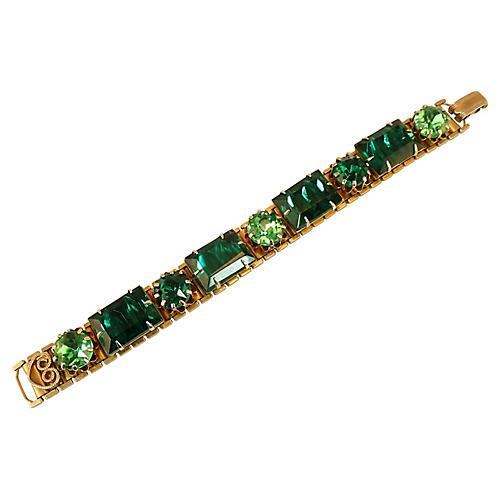 1950s Emerald Crystal Link Bracelet