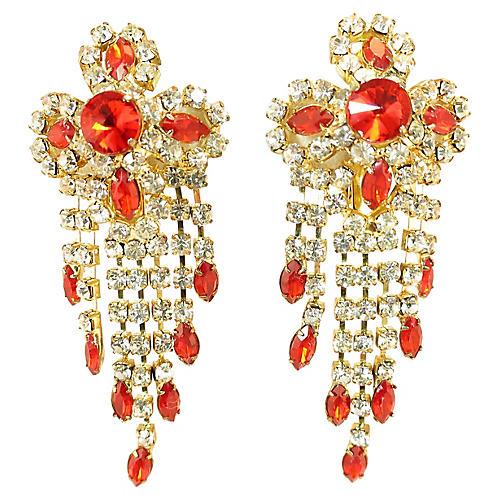 1950s Ruby Crystal Dangling Earrings