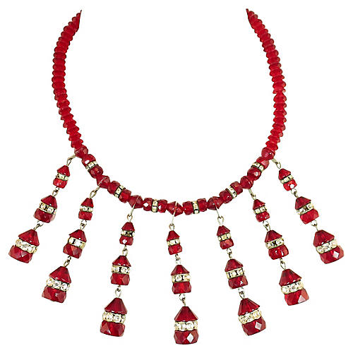 1950s Ruby Crystal Bib Necklace