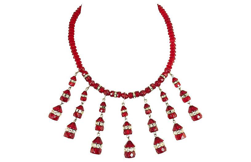 1950s Ruby Crystal Bib Necklace