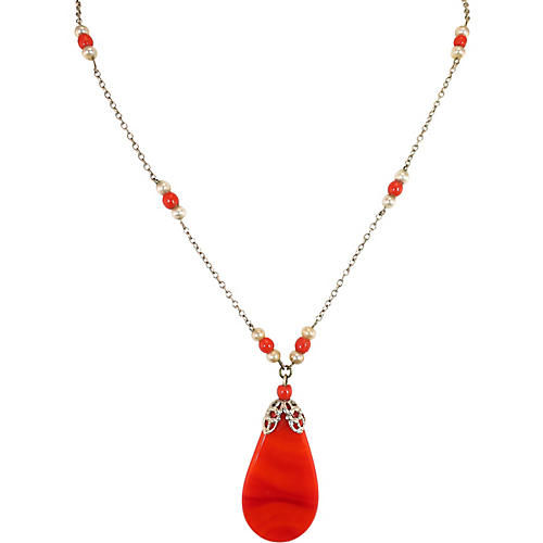 1930s Coral Drop Necklace