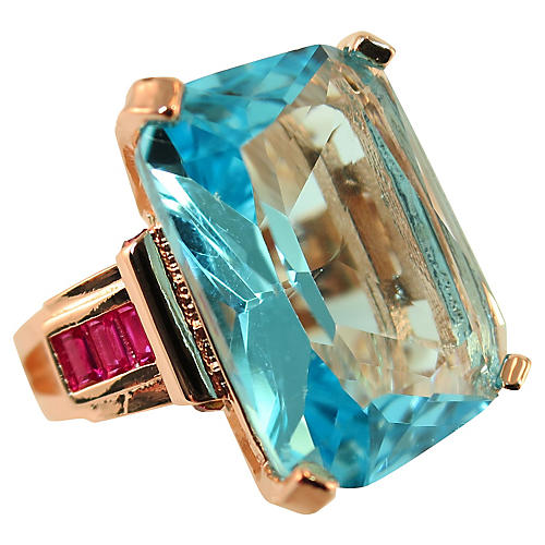 1970s Aquamarine & Ruby Rose Gold Ring