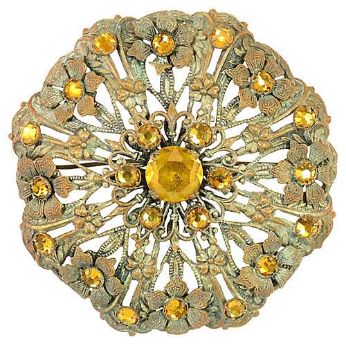 Victorian Floral Amber Crystal Brooch