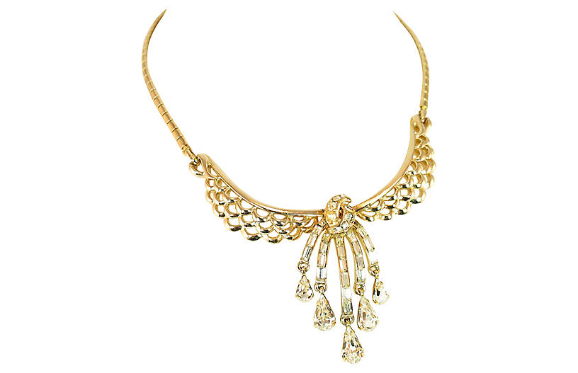 1940s Corocraft Waterfall Necklace