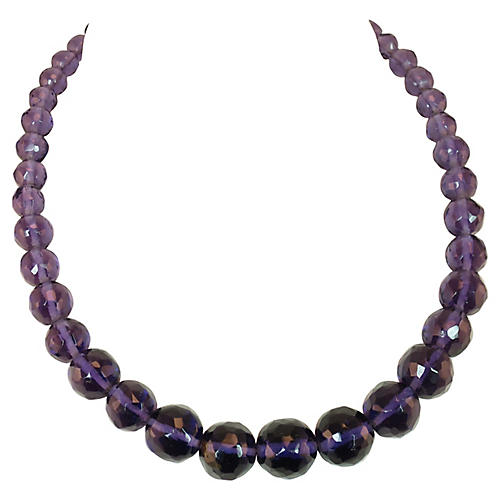 1940s Tanzanite Crystal Bead Necklace