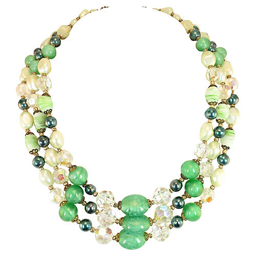 '50s Austrian Crystal Art Glass Necklace