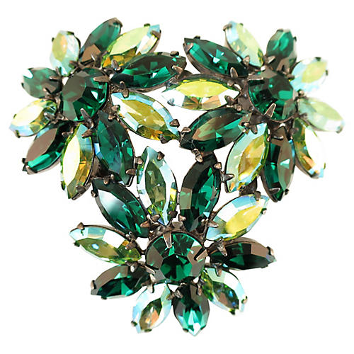 Austrian Emerald Crystal Flower Brooch