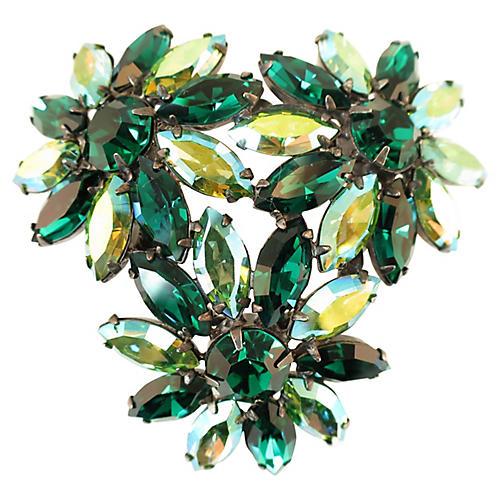 1950s Emerald Crystal Flower Brooch