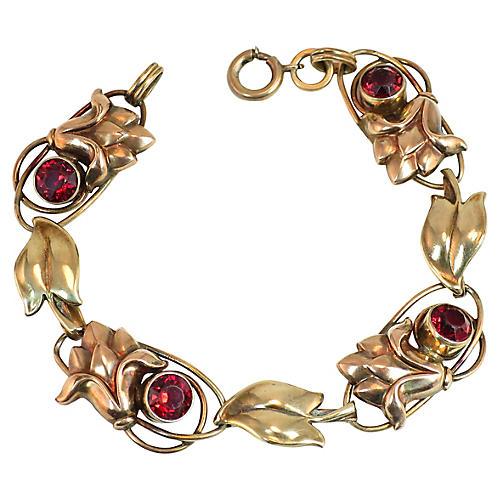 1930s Carl-Art Sterling Garnet Bracelet