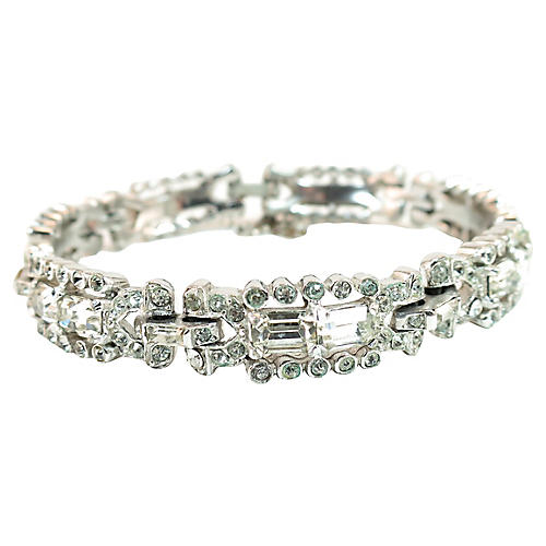 1940s Reja Rhodium & Crystal Bracelet