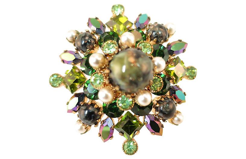 1950s Austria Art Glass Crystal Brooch