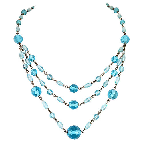 1920s Czech Teal Crystal Necklace