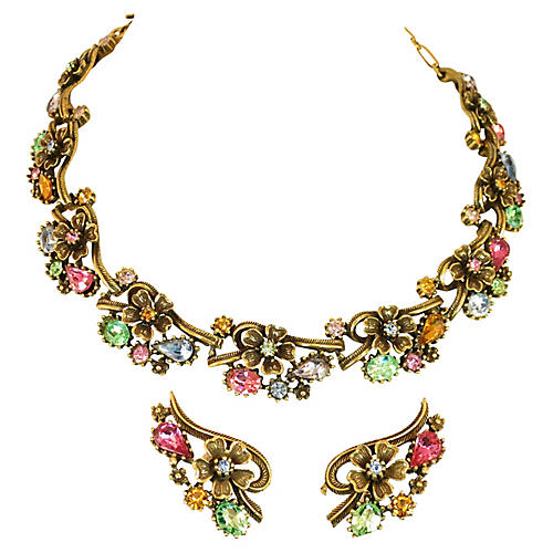 1950s Coro Pastel Crystal Necklace Set