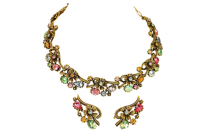 1950s Coro Pastel Crystal Necklace Set