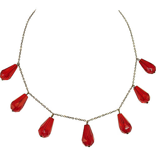 1920a Art Deco Ruby Crystal Necklace