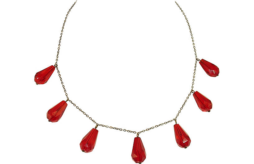 1920s Art Deco Ruby Crystal Necklace
