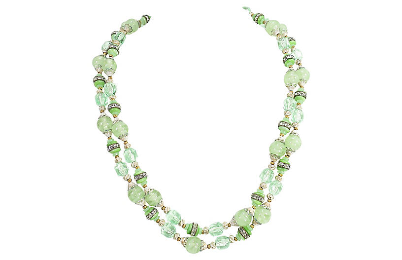 1950s Green Art Glass & Crystal Necklace