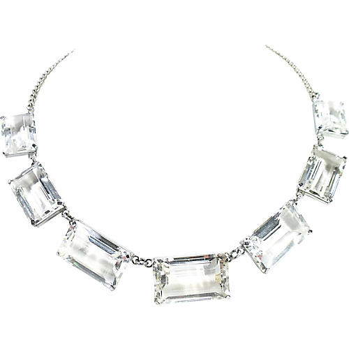 1940s Rock Crystal & Sterling Necklace