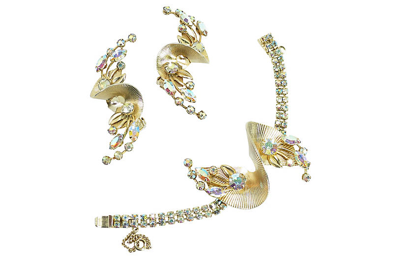 1950s Gilded Fan AB Crystal Bracelet Set