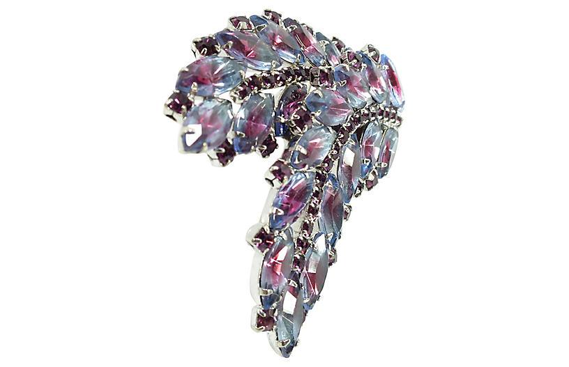 1950s Amethyst Lavender Crystal Brooch