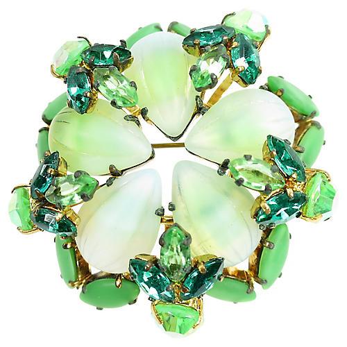 1950s Austria Art Glass & Crystal Brooch