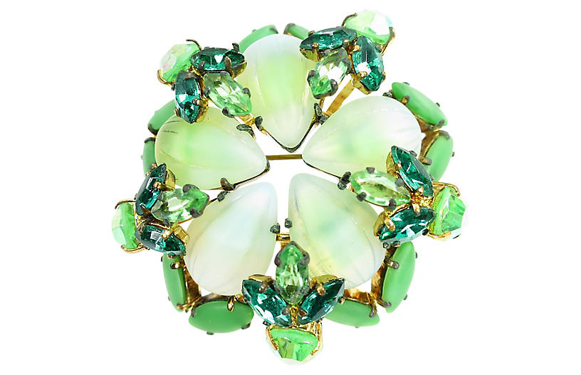 1950s Austria Art Glass & Crystal Brooch