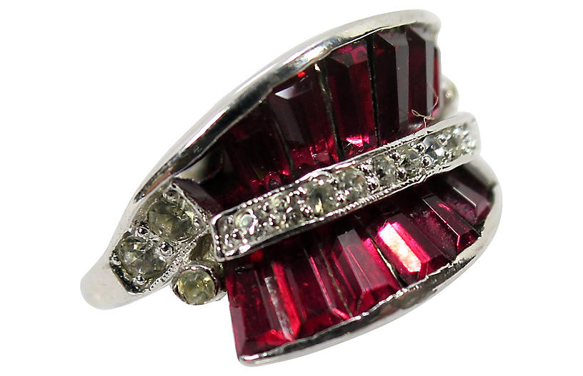 1950s Panetta Sterling Ruby Ring