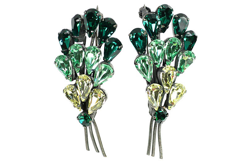 1950s Austrian Crystal Brooches, Pair