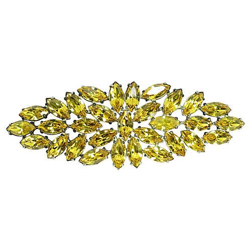 1940s Massive Citrine Crystal Brooch
