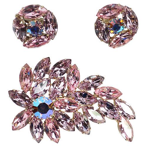 1960s Lavender & Pink Crystal Brooch Set