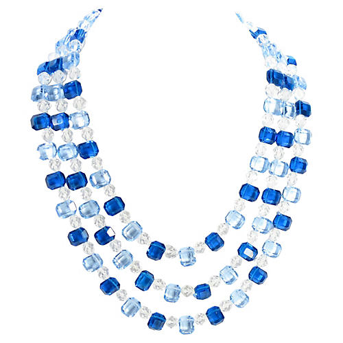 1960s Blue Crystal Multi-Strand Necklace